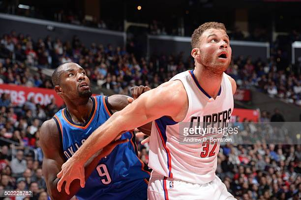 Serge Ibaka of the Oklahoma City Thunder fights for position against Blake Griffin of the Los Angeles Clippers on December 21 2015 at STAPLES Center...