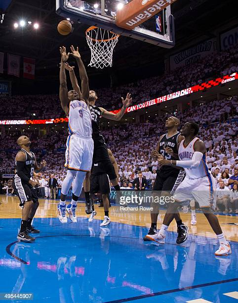 Serge Ibaka of the Oklahoma City Thunder grabs a rebound during Game 6 of the Western Conference Finals against the San Antonio Spurs during the 2014...