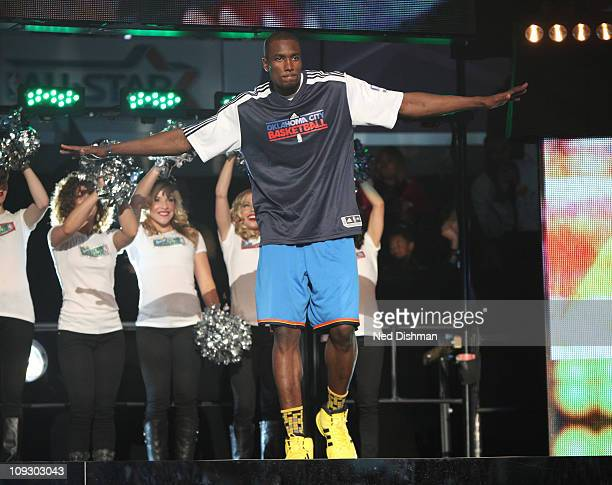 Serge Ibaka of the Oklahoma City Thunder is introduced prior to the 2011 Sprite Slam Dunk Contest at Staples Center on February 19 2011 in Los...
