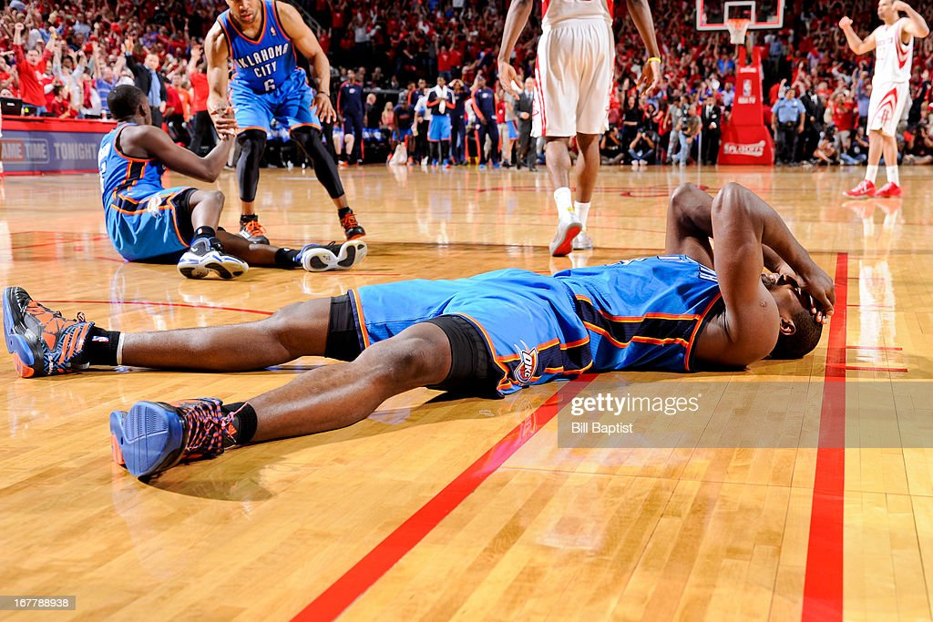 Serge Ibaka #9 of the Oklahoma City Thunder reacts after missing a game-tying shot as time ran out against the Houston Rockets in Game Four of the Western Conference Quarterfinals during the 2013 NBA Playoffs on April 29, 2013 at the Toyota Center in Houston, Texas.