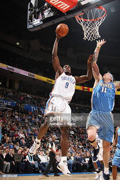 Serge Ibaka of the Oklahoma City Thunder shoots against Chris Andersen of the Denver Nuggets on January 29 2010 at Ford Center in Oklahoma City...