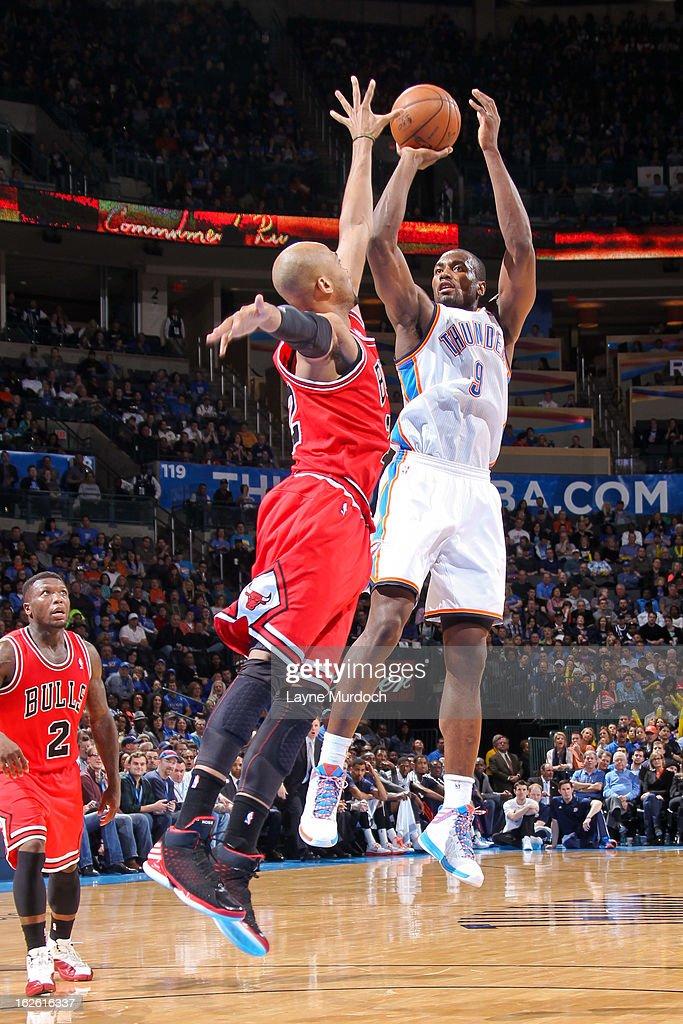Serge Ibaka #9 of the Oklahoma City Thunder shoots against Taj Gibson #22 of the Chicago Bulls on February 24, 2013 at the Chesapeake Energy Arena in Oklahoma City, Oklahoma.