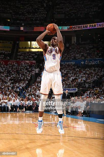 Serge Ibaka of the Oklahoma City Thunder takes a shot against the San Antonio Spurs in Game Six of the Western Conference Finals during the 2014 NBA...