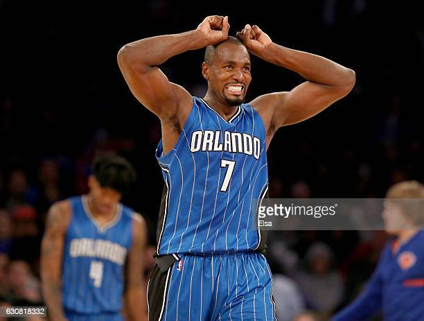Serge Ibaka of the Orlando Magic reacts to a missed shot in the second half against the New York Knicks at Madison Square Garden on January 2 2017 in...