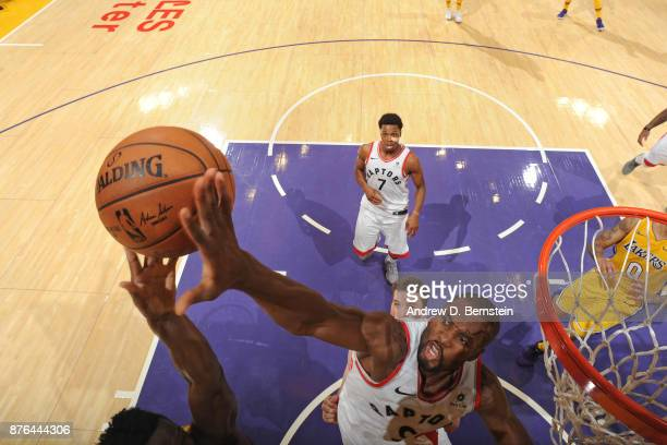 Serge Ibaka of the Toronto Raptors blocks shot against the Los Angeles Lakers on October 27 2017 at STAPLES Center in Los Angeles California NOTE TO...