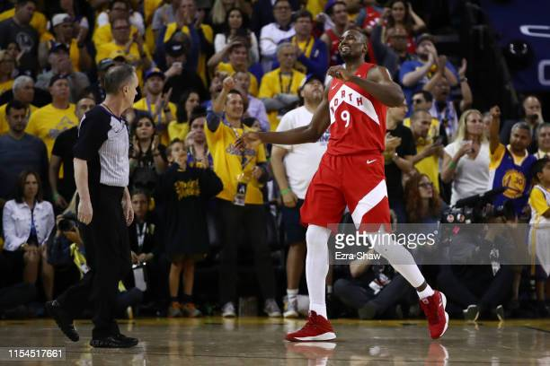 Serge Ibaka of the Toronto Raptors celebrates his dunk in the second half aGolden State Warriors during Game Four of the 2019 NBA Finals at ORACLE...