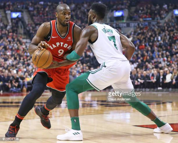 Serge Ibaka of the Toronto Raptors drives against Jaylen Brown of the Boston Celtics in an NBA game at the Air Canada Centre on February 6 2018 in...