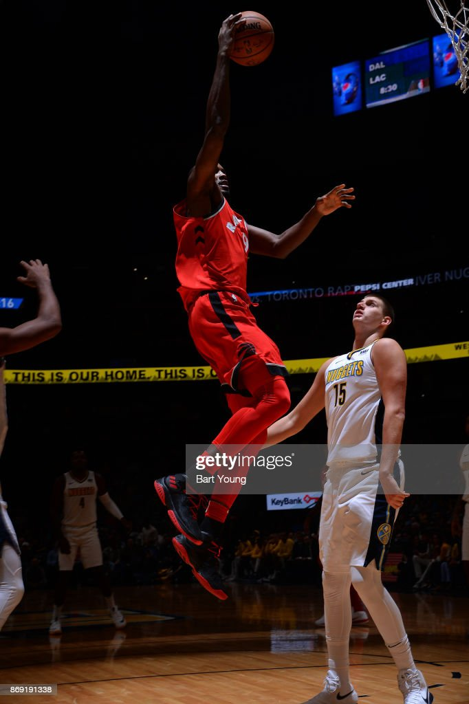 Serge Ibaka #9 of the Toronto Raptors drives to the basket against the Denver Nuggets on November 1, 2017 at the Pepsi Center in Denver, Colorado.