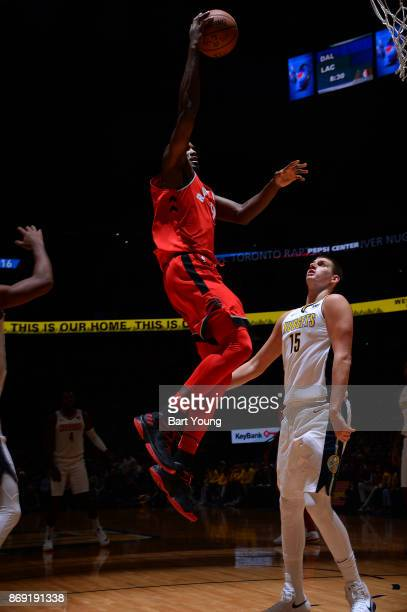 Serge Ibaka of the Toronto Raptors drives to the basket against the Denver Nuggets on November 1 2017 at the Pepsi Center in Denver Colorado NOTE TO...
