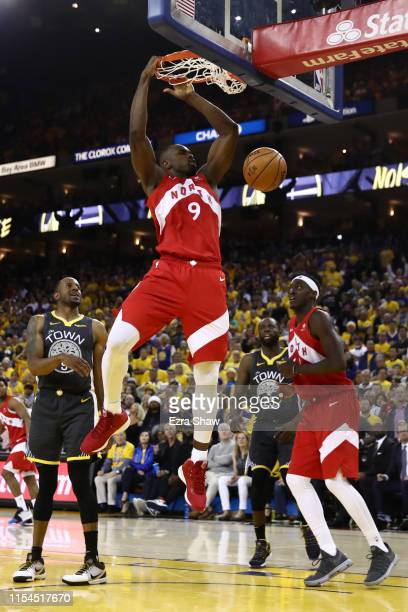 Serge Ibaka of the Toronto Raptors dunks the ball against the Golden State Warriors during Game Four of the 2019 NBA Finals at ORACLE Arena on June...