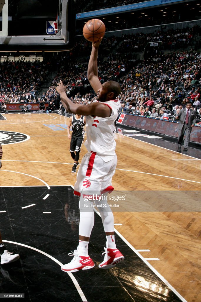 Serge Ibaka #9 of the Toronto Raptors goes to the basket against the Brooklyn Nets on March 13, 2018 at Barclays Center in Brooklyn, New York.