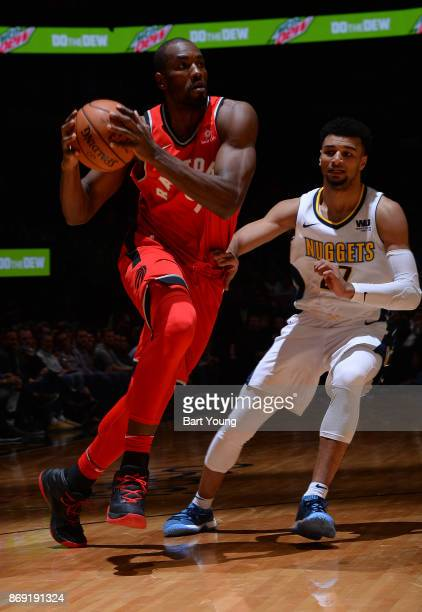 Serge Ibaka of the Toronto Raptors handles the ball against the Denver Nuggets on November 1 2017 at the Pepsi Center in Denver Colorado NOTE TO USER...