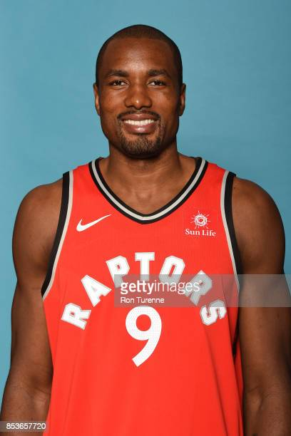 Serge Ibaka of the Toronto Raptors poses for a head shot during Media Day on September 25 2017 at the BioSteel Centre in Toronto Ontario Canada NOTE...