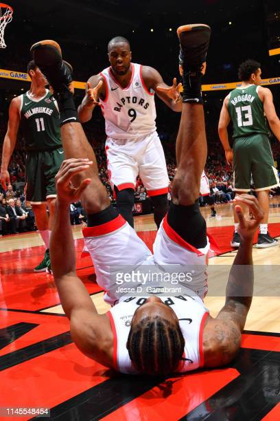 Serge Ibaka of the Toronto Raptors reacts against Milwaukee Bucks during Game Four of the Eastern Conference Finals of the 2019 NBA Playoffs on May...