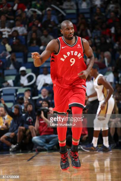 Serge Ibaka of the Toronto Raptors reacts against the New Orleans Pelicans on November 15 2017 at the Smoothie King Center in New Orleans Louisiana...