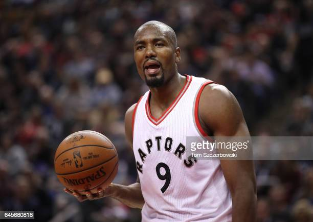 Serge Ibaka of the Toronto Raptors reacts to a call against the Portland Trail Blazers during NBA game action at Air Canada Centre on February 26...
