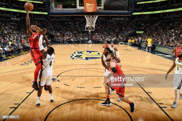 Serge Ibaka of the Toronto Raptors shoots the ball against the Denver Nuggets on November 1 2017 at the Pepsi Center in Denver Colorado NOTE TO USER...