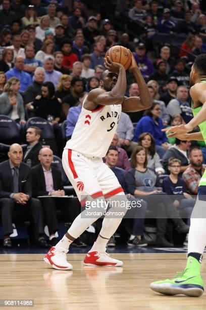 Serge Ibaka of the Toronto Raptors shoots the ball against the Minnesota Timberwolves on January 20 2018 at Target Center in Minneapolis Minnesota...