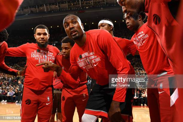 Serge Ibaka of the Toronto Raptors talks in the huddle before the game against the Indiana Pacers on February 5 2020 at the Scotiabank Arena in...