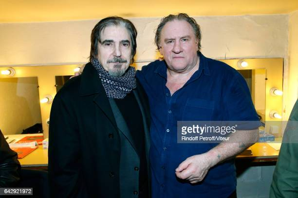 Serge Lama and Gerard Depardieu pose Backstage after Gerard Depardieu sings Barbara accompanied on the piano of Barbara by Gerard Daguerre who was...
