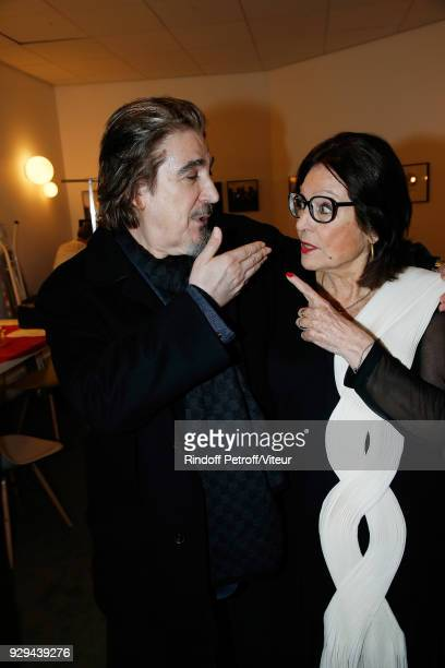 Serge Lama and Nana Mouskouri attend Nana Mouskouri Forever Young Tour 2018 at Salle Pleyel on March 8 2018 in Paris France