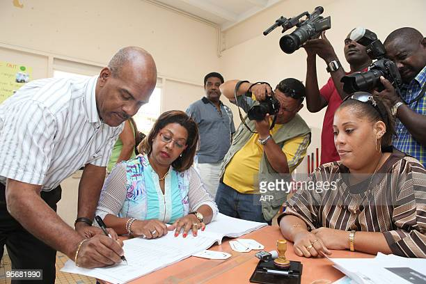 Serge Letchimy FortdeFrance mayor votes in the polling station of the Trenelle Citron quarter of FortdeFrance on the Caribbean island of Martinique...