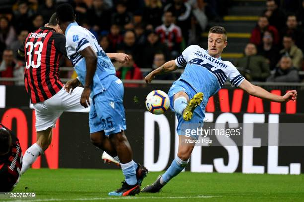Serge Milinkovic Savic of SS lazio in action during the TIM Cup match between AC Milan and SS Lazio at Stadio Giuseppe Meazza on April 24 2019 in...