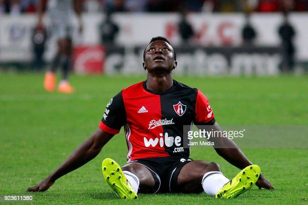 Serge Njoh of Atlas reacts during the 9th round match between Atlas and Monterrey as part of the Torneo Clausura 2018 Liga MX at Jalisco Stadium on...