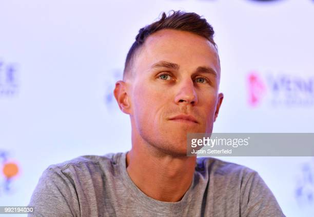 Serge Pauwels of Belgium and Team Dimension Data / during the 105th Tour de France 2018, Team Dimension Data press conference / TDF / on July 5, 2018...
