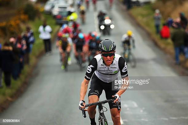 Serge Pauwels of Belgium and Team Dimension Data leads the climb out of Robin Hood's Bay on stage three of the 2016 Tour de Yorkshire from...