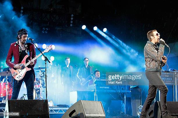 Serge Pizzorno and Tom Meighan of Kasabian perform at day two of V Festival at Hylands Park on August 22 2010 in Chelmsford England