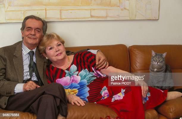 Serge Reggiani and wife Noelle AdamChaplin at home