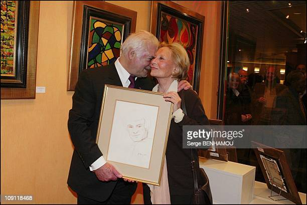 Serge Reggiani Exhibition In Paris On March 22 2004 In Paris France Jc Brialy And Michele Morgan