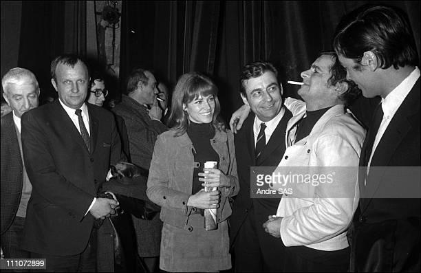 Serge Reggiani Francois Perier Nathalie and Alain Delon in France in 1968