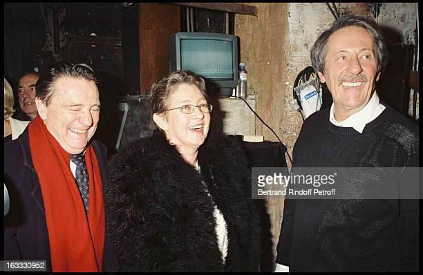 Serge Rousseau Marie Dubois and Jean Rochefort at theTheatre Production Of Art At TheTheatre Hebertot In Paris 1997