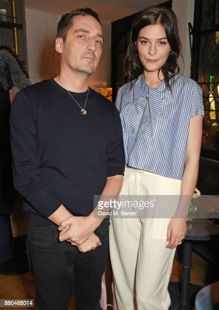 Serge Ruffieux Carven Creative Director and Amber Anderson attend the Carven dinner hosted by new creative director Serge Ruffieux at Clarette on...
