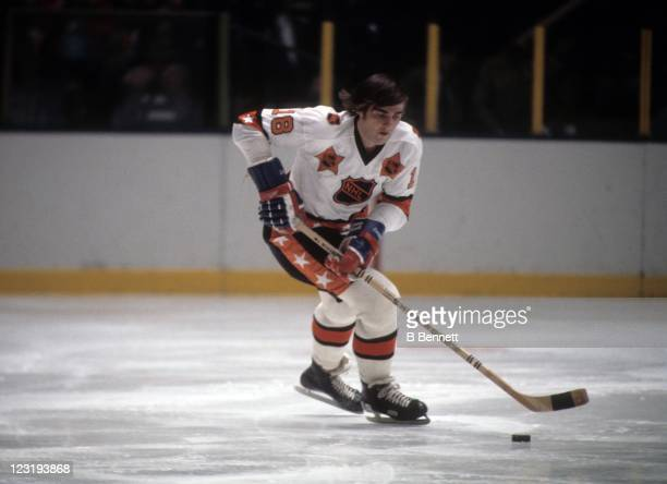 Serge Savard of the Montreal Canadiens and Team East skates with the puck during the 26th NHL AllStar Game against Team West on January 30 1973 at...