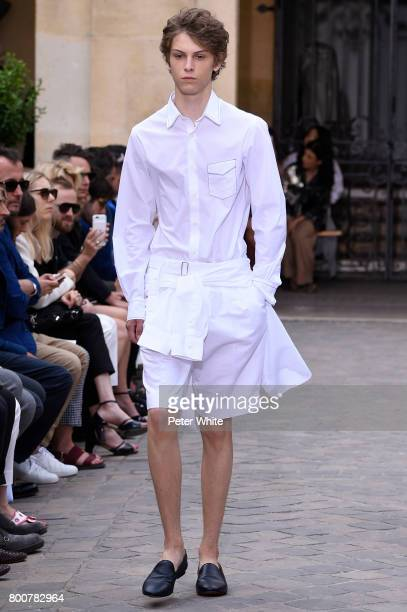 Serge Sergeev walks the runway during the Officine Generale Menswear Spring/Summer 2018 show as part of Paris Fashion Week on June 25 2017 in Paris...