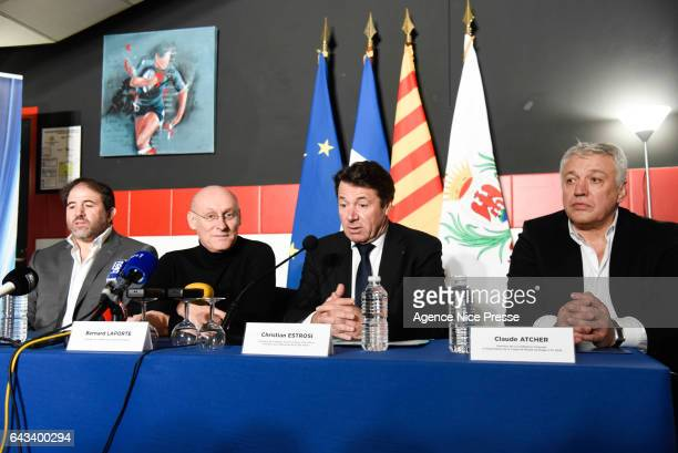 Serge Simon vice president of the french rugby federation and Bernard Laporte president of the french rugby federation and Christian Estrosi french...