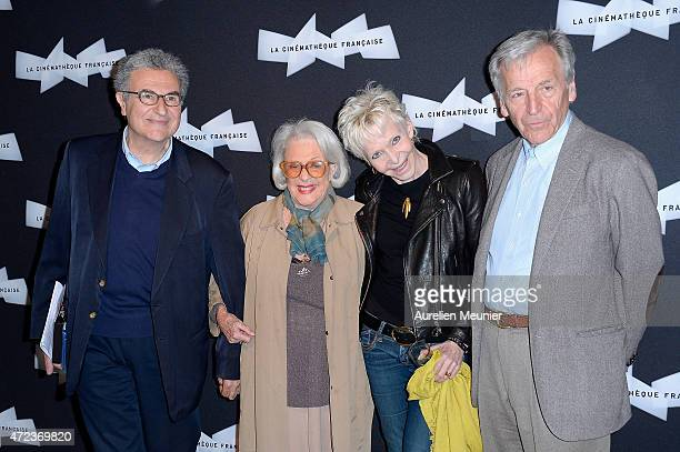 Serge Toubiana Micheline Presle Toni Marshall and Costa Gavras attend the Philippe De Broca Retrospective at Cinematheque Francaise on May 6 2015 in...