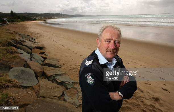 Sergeant Bill Matthews from Lorne Police Station is prepared for this year's schoolies' week 13 November 2006 THE AGE Picture by WAYNE TAYLOR