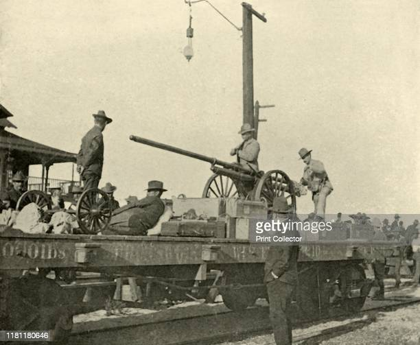 Sergeant Borrowe and the Dynamite Gun', Spanish-American War, June 1898, . Sergeant Hallett Borrowe with heavy ammunition mounted on a railway wagon,...