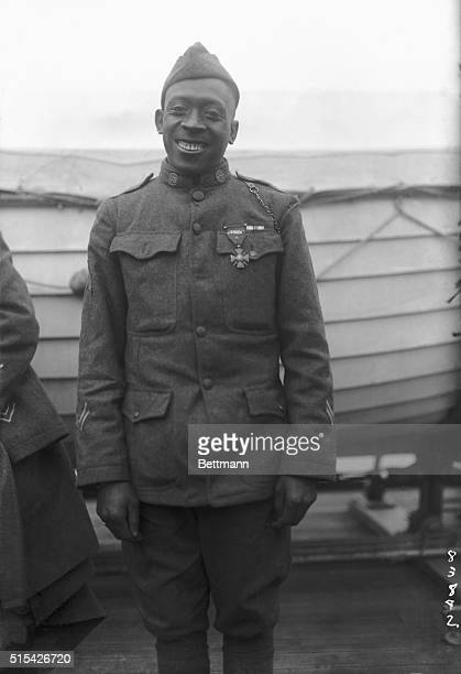 Sergeant Henry Johnson of the 369th Colored Infantry was awarded the Croix de Guerre for bravery during an outnumbered battle with German soldiers