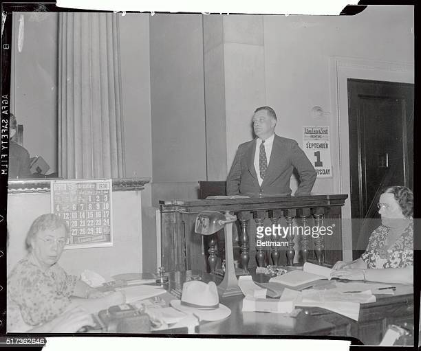 Sergeant James Hart of the Holmesburg prison guards answers questions from the witness stand during the coroner's inquest into the death's of four...