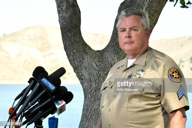Sergeant Kevin Donoghue of the Ventura County Sheriff's Department speaks during a press conference at Lake Piru where actress Naya Rivera was...
