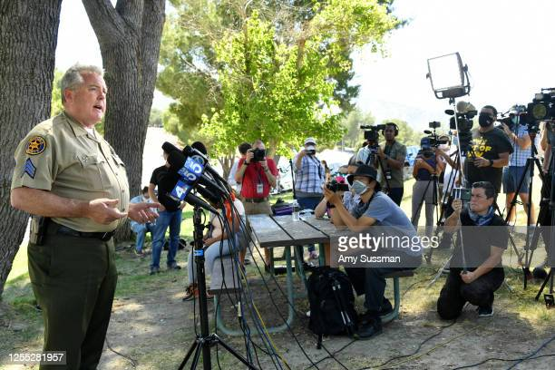 Sergeant Kevin Donoghue of the Ventura County Sheriff's Department speaks during a press conference at Lake Piru, where actress Naya Rivera was...