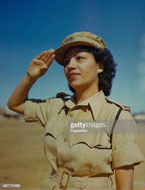 Sergeant Lorna High of the Central Provinces saluting, part of the Indian Auxiliary Territorial Service during World War Two, India, February 1945.