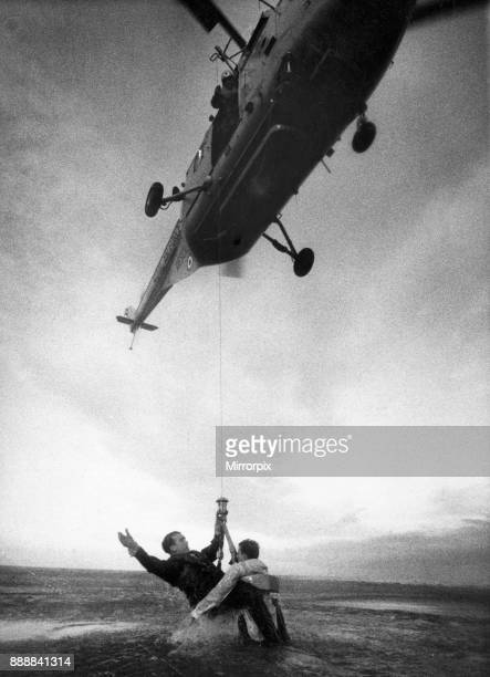 Sergeant Michael Dane rescues Senior Aircraftman Donald James during RAF Air and Sea Rescue service training mission 29th November 1963