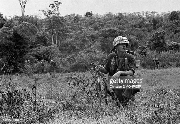 Sergeant O'Maley patrols north of Da Nang. | Location: North of Da Nang, South Vietnam.