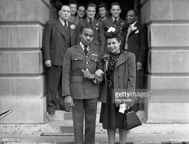 RAF sergeant Owen Sylvester of the West Indies with Laureen Goodare of St Pancras after their wedding at St Pancras Town Hall London 21st October...